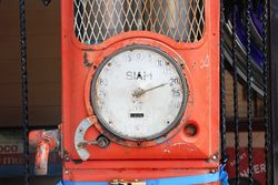 A Siam Wall Mount Manual Petrol Pump For Restoration