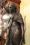 A Stunning And Large 20th Century Spelter Figure Lamp W Victorian Ruby Shade