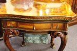 A Superb High Victorian Burr Walnut Sewing Work Table With Gilt Mounts