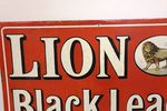 A Vintage Lion Black Lead  Pictorial Enamel Sign