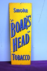 A Vintage Smoke Boars Head Tobacco Enamel Sign