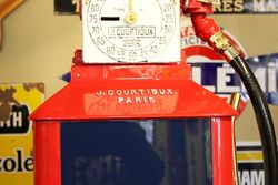 A Well Restored French Courtioux Rapide Clockface Manual Petrol Pump In Fina Livery