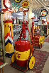 A Well Restored Rare Satam Chariot Petrol Pump In Shell Livery
