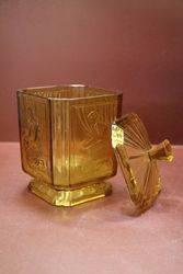 Amber Glass Art Deco Biscuit Barrel