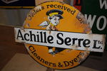 Antique Achille Cleaner + Dyes Enamel Sign Double Sided
