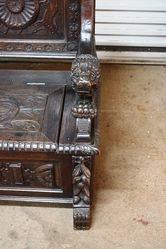 Antique Baronial Carved Oak Hall Seat