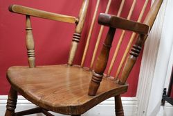 Antique Beech + Elm Victorian Arm Chair C1885