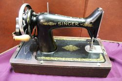 Antique Boxed Singer Cast Iron Sewing Machine