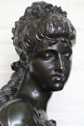 Antique Bronze Bust on Black Marble Column