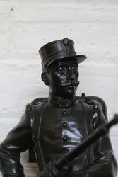 Antique Bronze Military Figure on Wooden Base