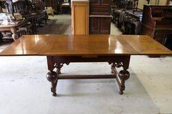 Antique C19th Dutch Drawer Leaf Refectory Table
