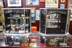 Antique Cadbury+96s Metal Bound Three Sided Shop Display Cabinet
