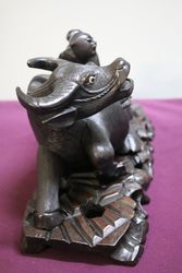 Antique Chinese Carved Wooden Figurine Modelled as Water Buffalo