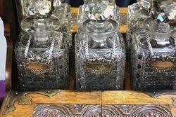 Antique Cut Glass 3 Bottle Tantalus