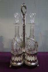 Antique Cut Glass 3 Pieces Tantalus Set In Silver Plated Stand