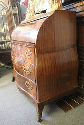 Antique Dutch Bombe Cylinder Bureau In Flame Mahogany