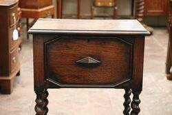 Antique Early C20th Oak Sewing Box