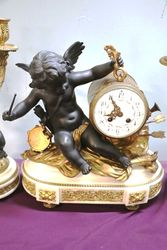 Antique French 3 Piece Spelter Clock Set