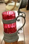 Antique German Ruby And Pewter Tankard Dated 1890