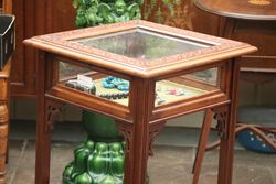 Antique Glass Lift Up Lid Collectors Cabinet