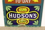 Antique Hudsons Soap Advertising  Blue Clock Enamel Sign