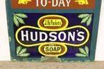 Antique Hudsons Soap Advertising  Blue Clock Enamel Sign