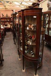 Antique Inlaid Serpentine Front Display Cabinet