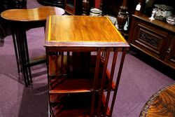 Antique Mahogany 2 Tier Revolving Bookcase