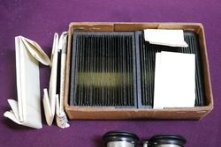 Antique Mahogany 3D Viewer With Box of 59 Glass Slides