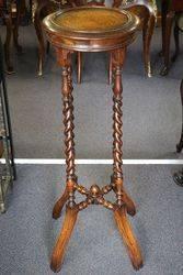 Antique Mahogany Barley Twist Leg Plant Pedestal Stand