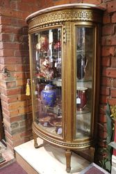 Antique Marble Top Display Cabinet Vitrine Glass