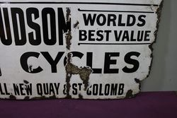 Antique New Hudson Cycles Enamel Sign