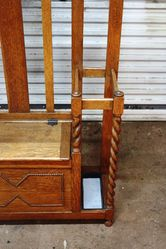 Antique Oak Barleytwist Centre Seat Hall Stand