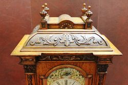 Antique Oak Brass Face Bracket Clock