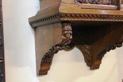 Antique Oak Brass Face Bracket Clock