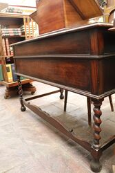 Antique Oak Desk with Green Tooled Leather Top
