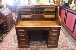 Antique Oak Roll Top Desk by the Standard Desk Company
