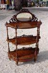 Antique Victorian 3 Tier Burr Walnut Wot Not