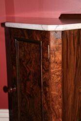 Antique Victorian Marble Top Burr Walnut Bedside Cabinet
