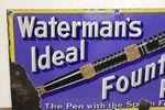 Antique Watermans Fountain Pen Pictorial Enamel Sign