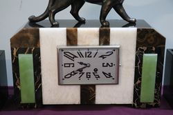 Art Deco 3 Piece Marble and Onyx Clock + Spelter Panther