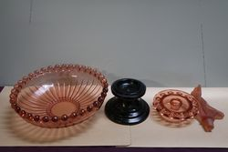 Art Deco 4 Pieces Pink Glass Float Bowl  Mascot Lady