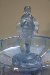 Art Deco Blue Glass Ballerina 3 Pieces Float Bowl