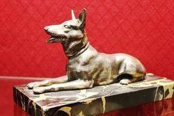 Art Deco Bronze and Marble Figure of a German Shepherd Dog
