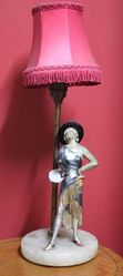 Art Deco Cold Painted Spelter Figure Lamp C1930