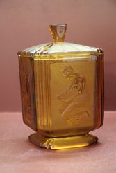 Art Deco Frosted Amber Glass Biscuit Barrel