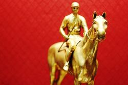 Art Deco Gilt Bronze Figure of Horse and Jockey