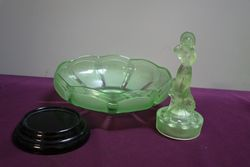 Art Deco Green Uranium Glass Arabella Float Bowl On Black Glass Stand
