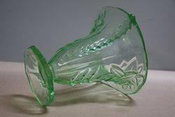 Art Deco Green Uranium Glass Vase