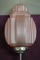 Art Deco Hall Light Frosted Pink Glass Shade C1930